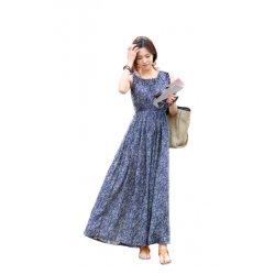 Women Sleeveless Floral Casual Bohemian Skirt Tide Spot Dress WC-85BL