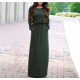 Women's New Maxi Round Neck With Leather Belt Long Sleeves Dress WC-82GN image