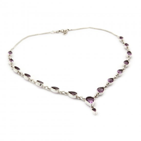 Precious Tears Amethyst Sterling Silver Y Necklace from India ANDN-27