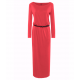 Women's New Maxi Round Neck With Leather Belt Long Sleeves Dress WC-82RD