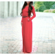 Women's New Maxi Round Neck With Leather Belt Long Sleeves Dress WC-82RD image