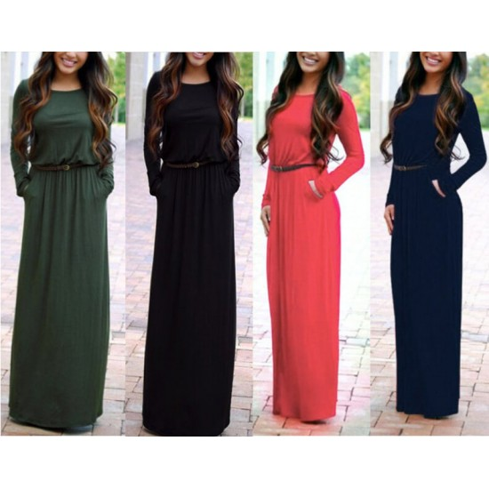 Women's New Maxi Round Neck With Leather Belt Long Sleeves Dress WC-82BL image