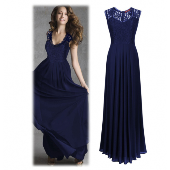 Princess Style With Long Lace Hollow Small Back V Neck Maxi Dress WC-83BL image