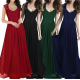 Princess Style With Long Lace Hollow Small Back V Neck Maxi Dress WC-83GN |image