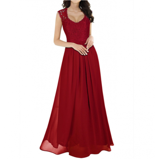 Princess Style With Long Lace Hollow Small Back V Neck Maxi Dress WC-83RD image