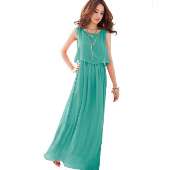 Women Latest Style Bohemian Retro Lotus Leaf Elegant Long Dress WC-84GN image