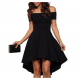Women Slash A-Line Off Shoulder Sexy Party Casual Dress  WC-87BK