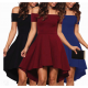 Women Slash A-Line Off Shoulder Sexy Party Casual Dress WC-87BK image