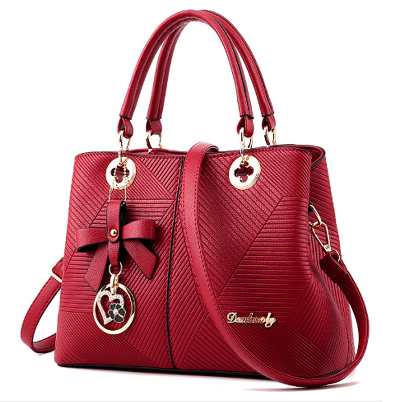 44 Red Color Embossed Shoulder Square Style Zipper Handbags For Womens Wb 18rd Image
